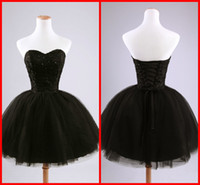 cocktail dress - Sexy Cheap Sweetheart Sequins Homecoming Dresses Black Beads Tulle Ball Gown Party Dresses Short Mini Cocktail Dresses