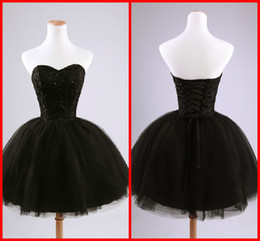 Wholesale Sexy Cheap Sweetheart Sequins Homecoming Dresses Black Beads Tulle Ball Gown Party Dresses Short Mini Cocktail Dresses