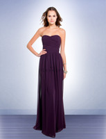 Wholesale Purple Chiffon Long Pleat Bridesmaid Dresses Hot Sale Sexy Wedding Party Dress Evening Gown Dress For Lady Cheap Dress