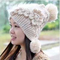 Wholesale winter Feather point drill earmuffs double ball cap beige
