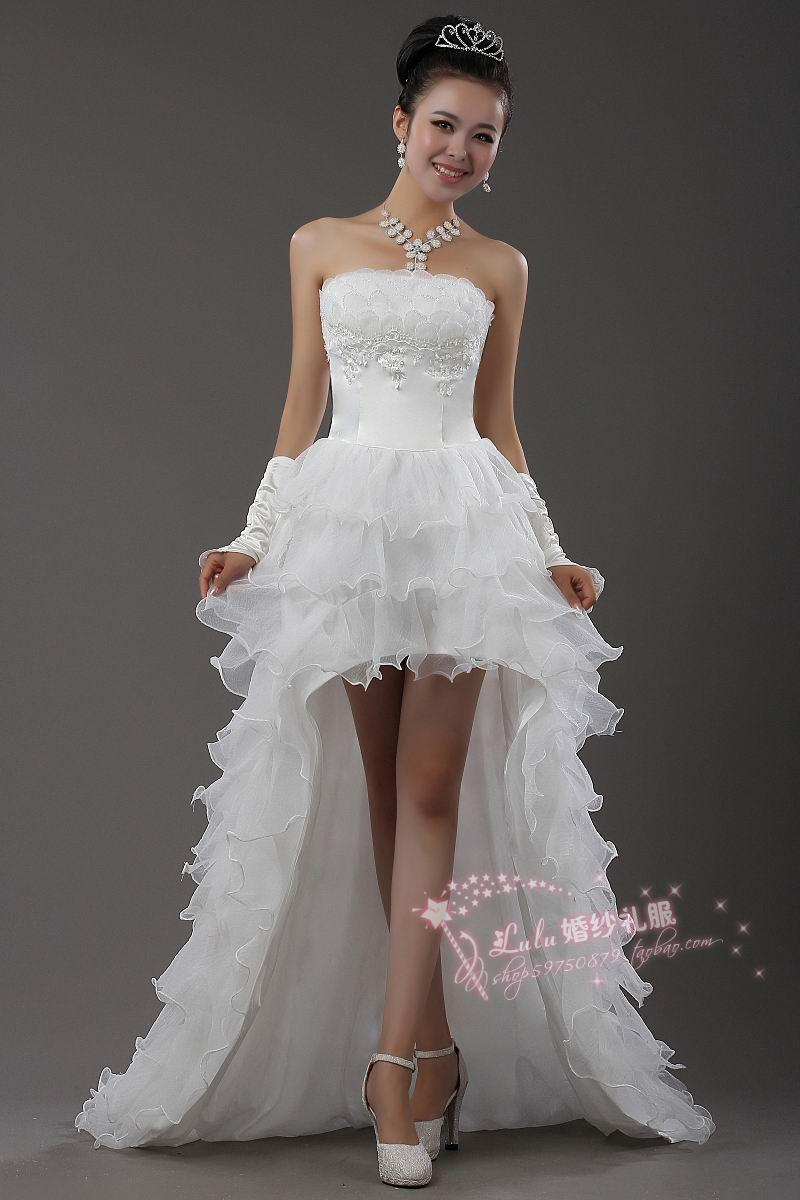 Discount low high 2016 new fashion sexy asymmetrical for Wedding dress ideas for short brides