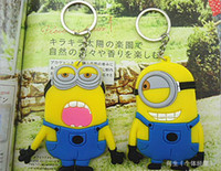 Promotion silicone keychain Despicable Me Sided keychain Cartoon Key Rings hanging dolls Silicone key rings toys gift