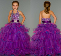 Reference Images Girl Applique 2014 Halter Organza Purple Little Girl Pageant Dresses Beaded Layered Sequins Sash Flower Girl Gown