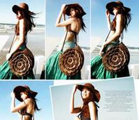Wholesale Cheap Beach Bag Straw Bag Shoulder Style colors Mix C12
