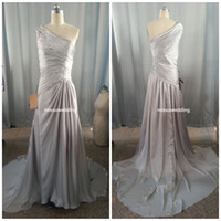 Wholesale Sliver Mother of the bride dress One shoulder Sheath brush silk like satin long Plus size Guest dress Prom dress formal evening dress