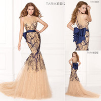 Corset Sheer Tarik Ediz Champagne Mermaid Evening Dress 2014...