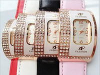 Wholesale Exquisite PU Leather Band Quartz Watch with Crystal Rhinestones for Girl F