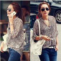 V-Neck Long Sleeve Regular korean leopard full sleeve x-long blouse ladies summer chiffon tops Sunscreen uper garment