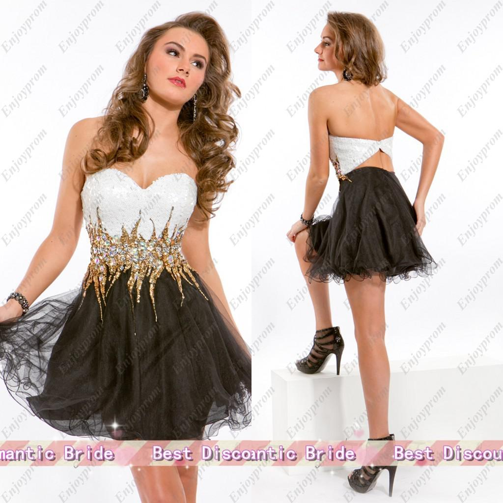 2016 Hot New Cocktail Dress Black Tulle Sweetheart White And Gold ...