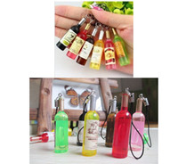 Universal mini wine bottles - Mini Wine Mobile Phone Chain Wine Bottle Red Wine Bottle Beer Accessories Pendant L488
