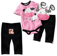 Wholesale First Movement Baby Girls Clothing Sets Milk Short Sleeve Baby Bodysuit Bibs Pants Suits Infant Romper PP Pant Cotton W209