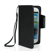 For Samsung Leather Wholesale Luxury Genuine MLT Wallet style leather pouch with Soft TPU case cover for Samsung Galaxy SIII S3 Mini I8190 Free shipping