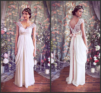 Empire Reference Images V-Neck NEW Arrival 2014 Beautiful Empire Chiffon Cap Sleeves V Neckline Wedding Dresses Stunning Bridal Dresses ZA97-8