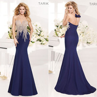 Arabic Vestidos Sheer Navy Blue Crystal Formal Party Celebri...