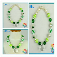 Wholesale ST Patricks Day baby Necklaces leaf chunky Necklace Resin Necklace for Kids fashion jewelry