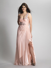 Wholesale 2014 Sexy A Line One Shoulder Beaded Sequins Split Side Criss Cross Back Pearl Pink Chiffon Long Plus Size Evening Gowns Prom Dresses