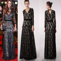 Model Pictures V-Neck Lace 2014 New Elegant Kate Middleton Black Stunning V-Neck Long Sleeve Sheath Full Length Lace Celebrity's Evening Gown Dress