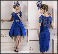 Wholesale 2013 Blue Mother of the Bride Dresses Column Lace Royal Ruffles Short sleeve Crew Knee Length Wedding Party Guest Gown