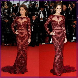 Wholesale 2014 Cheryl Cole Zuhair Murad Dress Cannes Red Carpet Sexy Burgundy Lace Celebrity Dress Evening