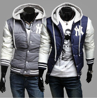 Wholesale Hot Men s Jackets BNWT Varsity Letterman College Baseball Cotton Jackets Color Navy Gray Size M XX