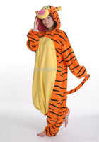 Anime Costumes tigger - New Kigurumi Pajamas Tigger Anime Cosplay Costume unisex Adult Onesie free ship S M L XL