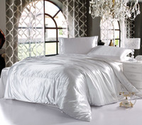 Wholesale Summer imitated silk pure color white comforter bedding sets queen king size duvet quilt cover bed sheet bedclothes set Home Textile