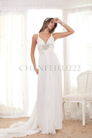 Empire Reference Images Spaghetti Spaghetti Straps V-Neck Beading Pleated Sheath Anna Campbell 2013 Wedding Dress Bridal Gown Grecian C1228