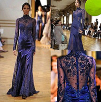 Reference Images High Neck Satin Amazing Zuhair Murad Evening Dresses Appliqued and Sequined Decorate High Neck Sheer Long Sleeve Covered Button Mermaid Prom Gowns