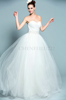 A-Line Model Pictures Strapless Strapless Sweetheart Neckline Pleated Beading Sashes Tulle A-Line Wedding Dress Bridal Gown Real Sample Model Shown C1228