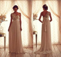 Wholesale 2014 One Sheer Strap A Line Chiffon Ruched Prom Dress Hand Made Flowers and Beads Ribbon Bow Removable Court Train Bridal Evening Gown