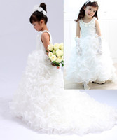Ruffled Organza Lace Pageant Flower Girl Dresses With A Trai...