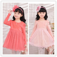TuTu Spring / Autumn Pleated Wholesale - EMS Spring New Girls Long Sleeve Dressy Kids Clothes Pure Cotton Gauze Lace Layered Pleated Dresses Child Ruffle Yarn Veil Dress