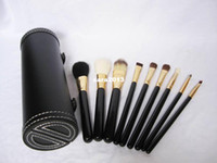Cheap Wholesale - 9pcs makeup brushes set with black tube ,Professional Cosmetic Makeup Brush Make Up Tool With black box
