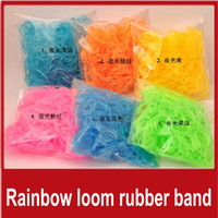 Wholesale 10 Packages Rainbow loom rubber band Elastic Supplement DIY Colorful Silicone bracelet Children s toys bands S clips