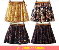 Wholesale Hot sale Colors Pleated Floral Chiffon Women Ladies Cute Mini Skirt Belt Include