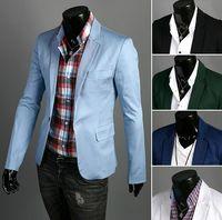Wholesale NEW Men s Casual Slim fit Blazers Designs Suits Men s One button lapel suits Jackets Colors