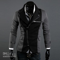 Jackets Men Wool Blend ADS@-005 HOT! Fashion Slim Men's Jacket Lapel With Irregular Zipper Dark Grey+Black Jackets For Men