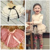 Wholesale 2014 girls tutu lace tulle skirts with bowknot ribbon baby girl fashion princess cake shorts skirt children s white pink dress