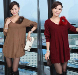 Wholesale 2014 Korean version women s long sleeve O neck fashion pullover Long Fall khaki red black Size M L XL