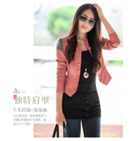 Wholesale NEW autumn winter woman s short PU leather jacket round neck Slim Fit coat