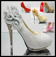 al por mayor amarillo zapatos de tacones altos-Shinning atractivo del brillo de los altos talones amarillo rosado zapatos de novia de la boda de la flor de plata rojo del oro 5 colores EU34 de ePacket 40 Envío gratuito