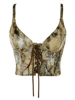 Wholesale Sexy Multi Color Straps Neck Python Print Wrap Rayon Women s Crop Top leather corset r54 u12 jD6