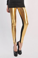 Leggings Skinny,Slim Women new arrival High Waist Metallic Leather Seamed girls' leggings in Gold LC79306 Free shipping