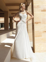 Wholesale Chiffon One shoulder Bridal Gown With Asymmetrical Wrapped Ruching and Beaded Motif on Bodice A line Sweep train Long Wedding Dr