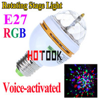 Wholesale 3W E27 Full Color RGB LED Crystal Voice activated Rotating Stage Light DJ Lamp Light Bulb Stage Lighting V CE RoHS