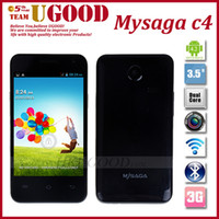 3.5 Android 256M Lowest Price! Mysaga C4 MTK6572M Dual Core 3.5inch Smart Cell Phone,256MB+512MB Dual Sim Card Support GPS