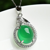 Pendant Necklaces Pendant Other Genuine Chalcedony pendant necklace 925 silver inlay of rare natural green chalcedony pendant diamond lady 's most popular new