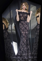 Wholesale 2014 Rochii De Seara Evening Dresses Bateau Backless Off Shoulder Sexy Black Lace Floor Length Sheath Column Zipper Formal Bridesmaid Gown