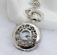 Wholesale promotion small size white steel leaf pocket watch necklace mm size leaf sweater necklace