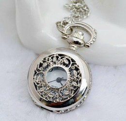 Wholesale - promotion small size white steel leaf pocket watch necklace ,27*27mm size. leaf sweater necklace
